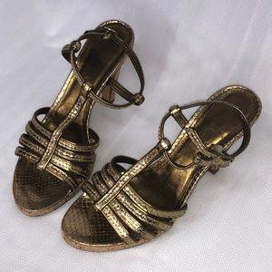 Coach Bronze Strappy Sandal Heels